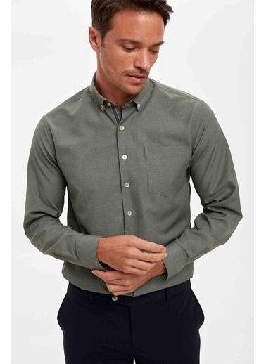 DeFacto Desenli Slim Fit Uzun Kollu Gömlek Renkli
